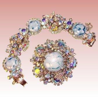 Fabulous D&E JULIANA Blue Easter Egg Cabochon Rhinestone Bracelet & Brooch Set