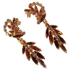 Fabulous SHERMAN Signed Long Topaz Brown Aurora Vintage Clip Earrings