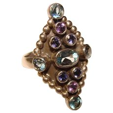 Fabulous STERLING Blue & Purple Stones Vintage Ring