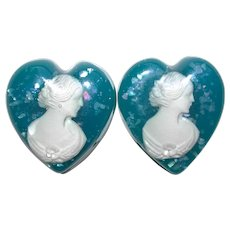 Fabulous LUCITE Embedded Cameo Large Heart Earrings - Shell Confetti