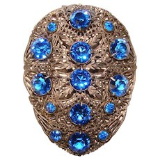 Gorgeous ART DECO Blue Glass Stones Dress Clip Brooch