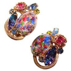 Fabulous D&E JULIANA Colored Easter Egg Rhinestone Vintage Clip Earrings