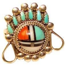 Gorgeous Sterling Kachina Sun Face Design Vintage Ring