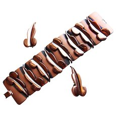 Fabulous RENOIR Signed Copper Modernist Link Vintage Bracelet Set - Wide Leaf Link