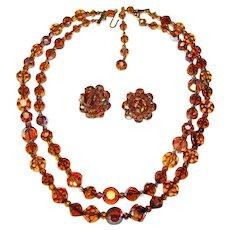 Fabulous Topaz Brown Aurora Crystal 2 Strand Vintage Necklace Set