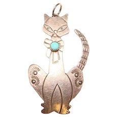 Awesome STERLING Cat Design Vintage Pendant