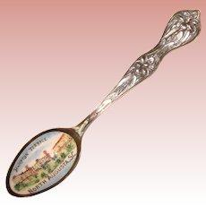 Antique Sterling Enamel Spoon - North Augusta South Carolina - Baker Manchester Mfg. Co