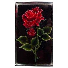 Gorgeous CARVED LUCITE Red Rose & Black Vintage Brooch