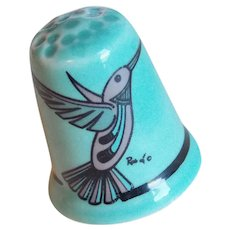 Vintage HUMMINGBIRD Bird Porcelain Estate Thimble