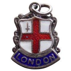800 Silver & Enamel LONDON Vintage Estate Charm - Souvenir of England Great Britain