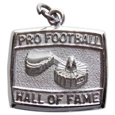 Sterling PRO FOOTBALL Hall of Fame Vintage Estate Charm - Souvenir of Canton Ohio