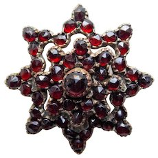 Victorian Bohemian Garnet Antique Brooch - Star Shaped - Rose Cut Stones