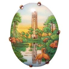 Fabulous Art Deco Scenic TRANSFER GLASS Vintage Brooch - Souvenir of Bok Tower Gardens Lake Wales Florida
