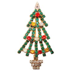 Fabulous CHRISTMAS TREE Colored Rhinestone Brooch