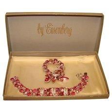 Fabulous Vintage EISENBERG Signed Pink Rhinestone Brooch & Bracelet in Box