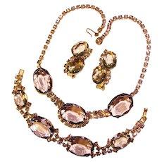 Fabulous Lavender Rhinestone Necklace Bracelet & Clip Earrings Set