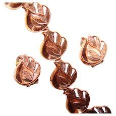 Fabulous RENOIR Signed Copper Leaf Link Vintage Bracelet & Clip Earrings Set