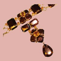Fabulous HUGE Bronze Glass Amber Rhinestone Bracelet & Brooch Set