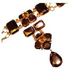 Fabulous HUGE Bronze Glass Amber Rhinestone Bracelet & Brooch Set