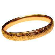 Gorgeous Antique Gold Filled Hinged Bangle Bracelet