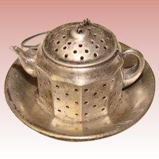 Fabulous STERLING Vintage Tea Strainer - Fun Figural Tea Pot Shape