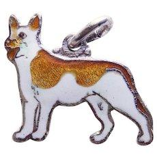 Awesome STERLING & ENAMEL Dog Vintage Charm
