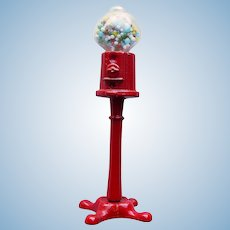 Miniature GUMBALL MACHINE Vintage Glass Globe & Metal - for Your Dollhouse