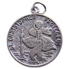 Sterling ST. CHRISTOPHER Medal Vintage Charm or Pendant - Signed Wells