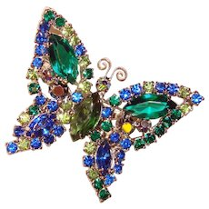 Fabulous BUTTERFLY Colored Rhinestone Vintage Brooch