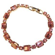 Fabulous WEISS Signed Pink Rhinestone Vintage Bracelet