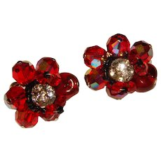 Gorgeous VENDOME Signed Red Aurora Crystal Vintage Earrings