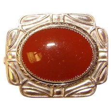 Beautiful ART DECO Carnelian Colored Glass Stone Brooch