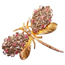 Gorgeous DRAGONFLY Vintage Red Glass Stones Brooch