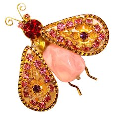 Fabulous TREMBLANT Winged Insect Vintage Rhinestone Brooch