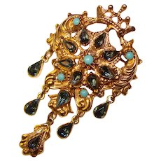 Fabulous Vintage BLUE Rhinestone Crowned Design Dangle Brooch