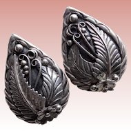 Fabulous STERLING Southwestern Signed Vintage Earrings - Pierced