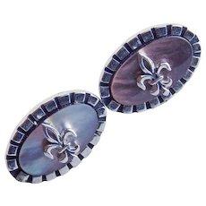 Vintage FLEUR DE LIS Mother of Pearl Stones Cufflinks - Signed Swank