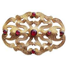 Antique Victorian Cranberry Glass Stones Sash Pin Brooch