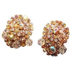 Gorgeous Aurora Rhinestone Vintage Crystal Dangle Clip Earrings