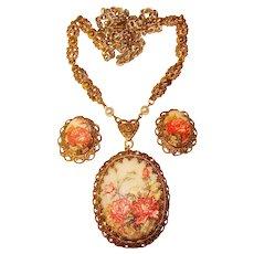Fabulous WEST GERMANY Floral Sugar Stone Vintage Necklace Set