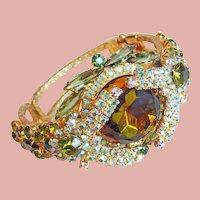 Fabulous D&E Juliana Watermelon Green Aurora Rhinestone Clamper Bracelet