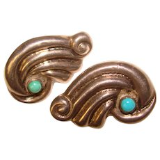 Gorgeous MEXICAN STERLING & Aqua Stones Vintage Earrings