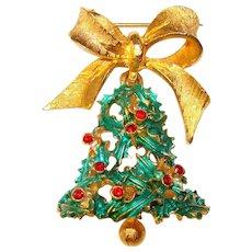 Festive MYLU Christmas Bell Vintage Brooch