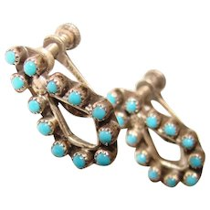 Gorgeous STERLING & TURQUOISE Colored Stones Vintage Earrings