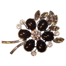 Fabulous BLACK Glass & Smoke Rhinestone Vintage Brooch