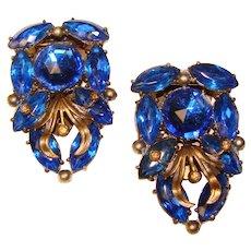 Fabulous ART DECO Matching Pair Blue Stones Dress Clip Brooches