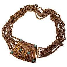 Fabulous MULTI CHAIN Bezel Set Blue Glass Stones Vintage Necklace