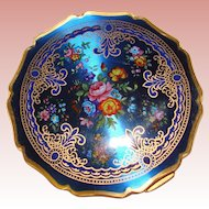 Gorgeous STRATTON Signed Blue Patterned Enamel Vintage Compact