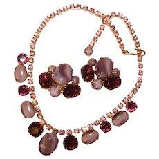 Fabulous LAVENDER PURPLE Satin Glass Rhinestone Vintage Necklace Set