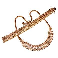 Fabulous ART DECO Era Finely Set Sparkling Rhinestone Necklace & Bracelet